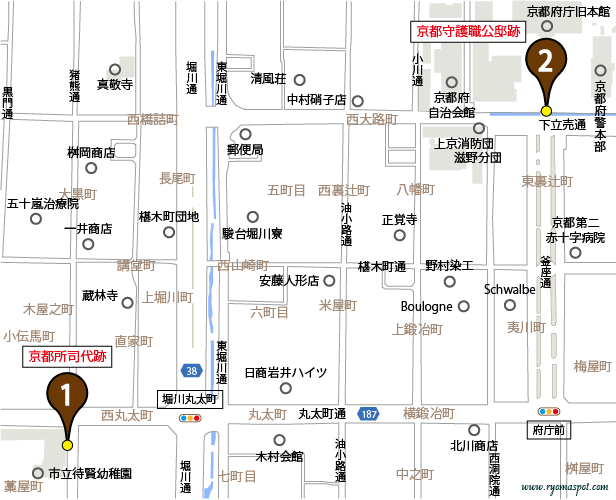 上京区史跡マップマーク1・2